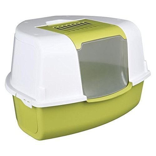 Trixie Tadeo Open Top Corner Cat Litter Tray, 58 x 38 x 50 Cm, Green/white - -  tadeo open top trixie corner litter tray 40358 cat greenwhite new 38