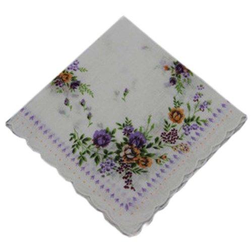 3 Pcs Retro Floral Print Handkerchiefs Ladies Cotton Pocket Handkerchief, #17