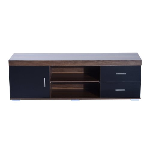 Homcom Tv Stand W/ 2 Door Shelves Entertainment Center Media Cabinet 140cm (black)