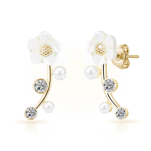 cabc4513b Gold Plated Daisy Climber Earrings Created with Swarovski Crystals on OnBuy