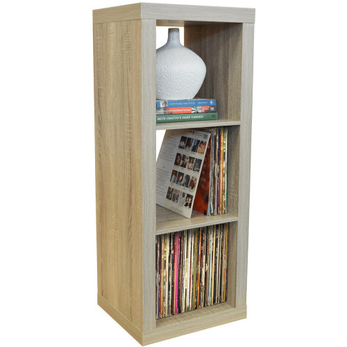 CUBE - 3 Cubby Square Display Shelves / Vinyl LP Record Storage - Limed Oak