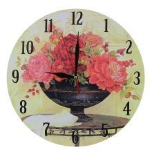 Obique Home Decoration with Red Flowers Scene MDF Wall Clock 28 cm