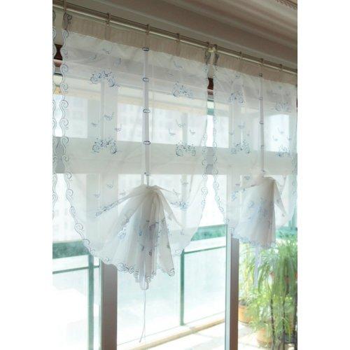 Embroidery Fish Roman Curtain Fashion Blue Window Panel