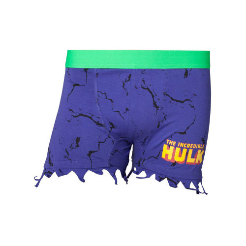 MARVEL COMICS Incredible Hulk Men's Novelty Ripped Boxer Shorts Underwear, Large, Purple/Green (ZB240336MAR-L) (New)
