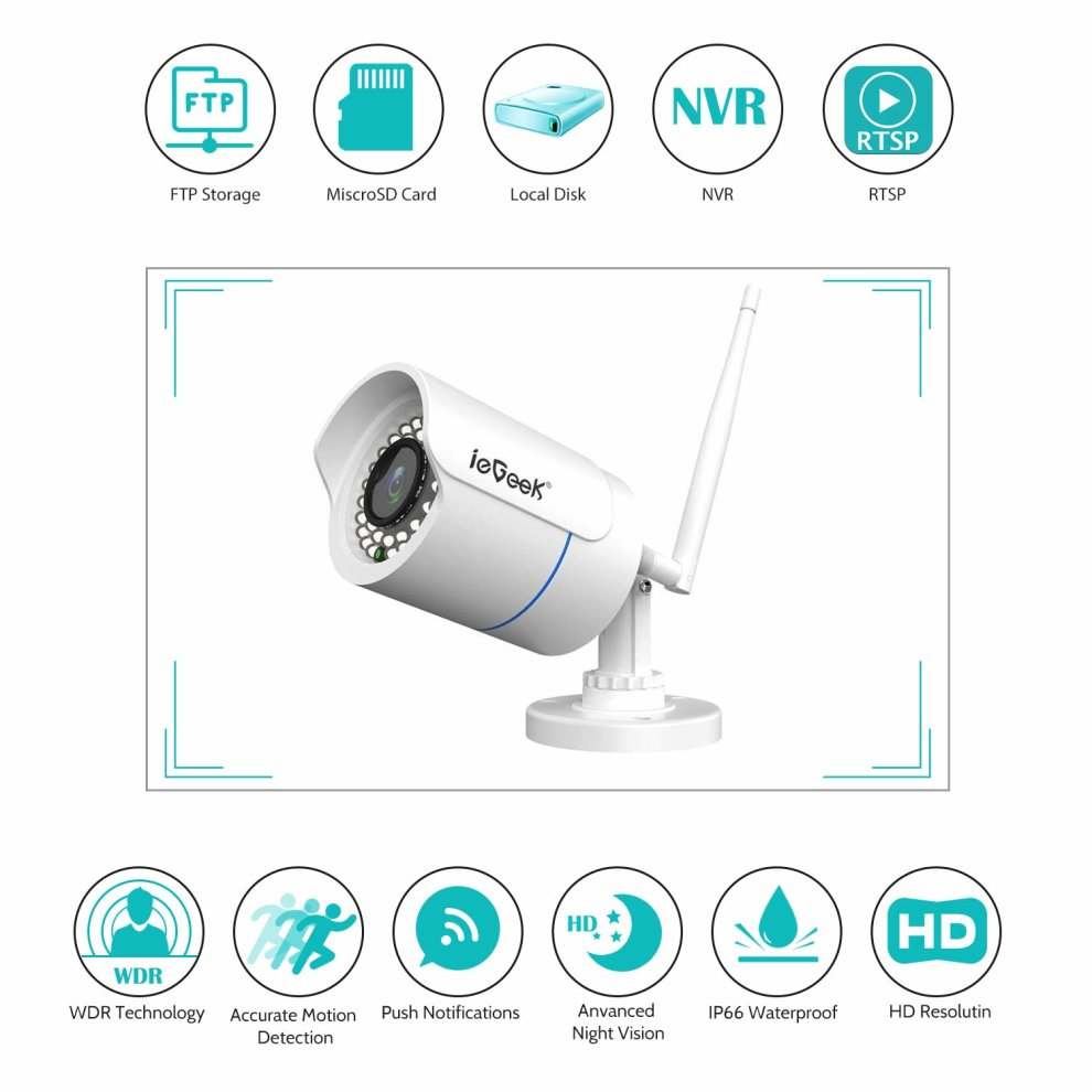 ieGeek CCTV Camera, Outdoor WIFI Waterproof Home Security Surveillance  Outdoor Bullet IP Camera, Up to 20m IR Night Vision (3M Power Supply),