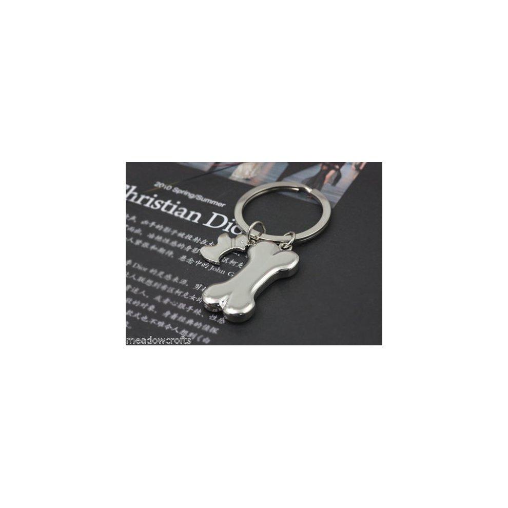 0ee9700166 Silver Puppy Dog Bone Tag Shape Bag Charm Cool Novelty Metal Keyrings Key  Ring Key Chain ...
