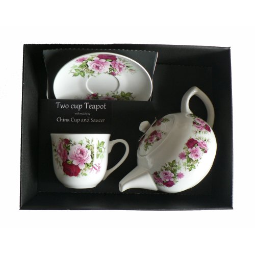 Pink Rose Teapot Cup and Saucer - Porcelain teapot,China Cup & Saucer in box