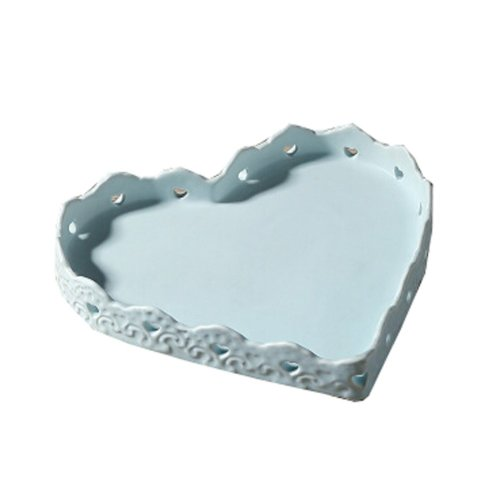 Ceramics Serving Dishes Trays Platters Candy Dishes Decorative Tray Heart-shaped 8 Inch (Blue)