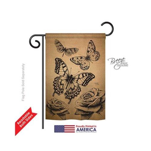 Breeze Decor 54002 Butterflies Burlap 2-Sided Impression Garden Flag - 13 x 18.5 in.