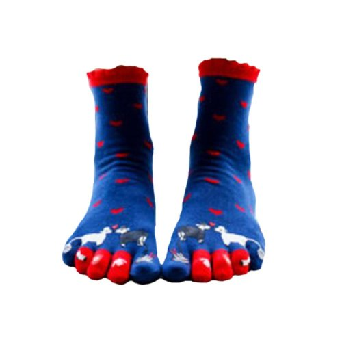 Cute Cartoon Tube Toe Scoks Blue Soft Cotton Socks
