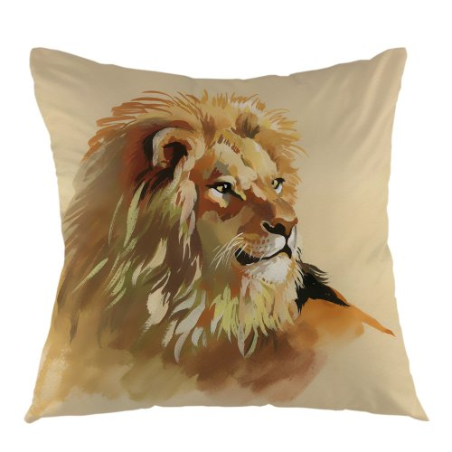 """Melyaxu Lion Decorative Throw Pillow Case Square Cotton Cushion Cover 18""""X18"""" Inch Yellow"""