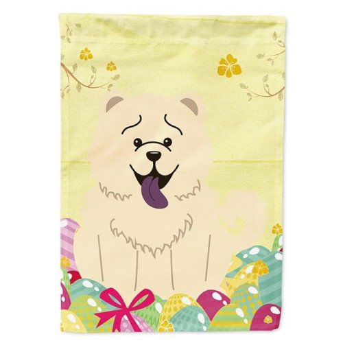 Carolines Treasures BB6140CHF Easter Eggs Chow Chow White Flag Canvas House Size