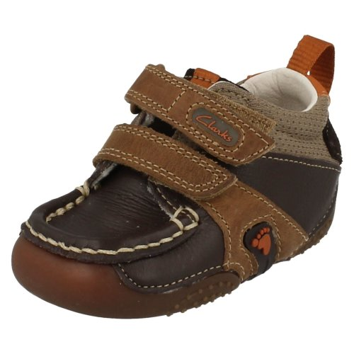 Boys Clarks Cruiser Shoes Logging - Brown Leather - UK Size 3G - EU Size 18.5 - US Size 3.5W