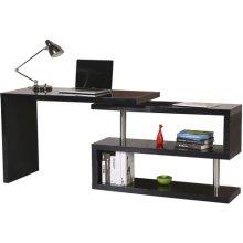 (Black) Homcom High Gloss Computer Desk | PC Desk & Shelves