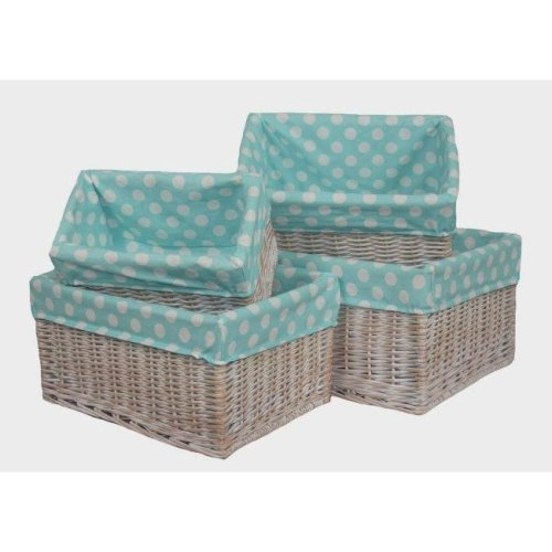 Blue Spotty Lined Wicker Open Storage Baskets Set of 4