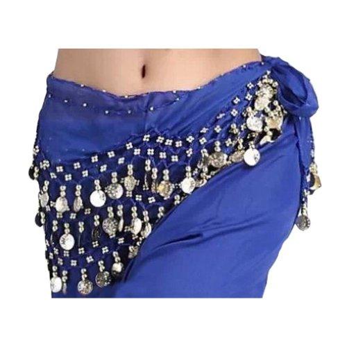 Chiffon Deep Blue Belly Dance Scarf With Dangling Gold Coins Belt Skirt