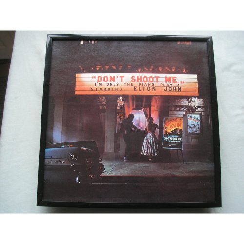 ELTON JOHN Don't Shoot Me LP cover framed for wall mounting BLACK