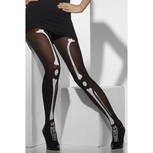 Smiffys Black Tights With Skeleton Print   Skeleton Bone Tights
