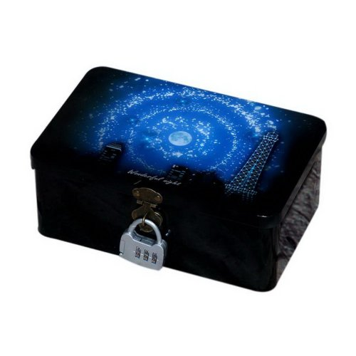 Creative Night Style Large Password Tin Box With Lock Storage Tin Box Good Night