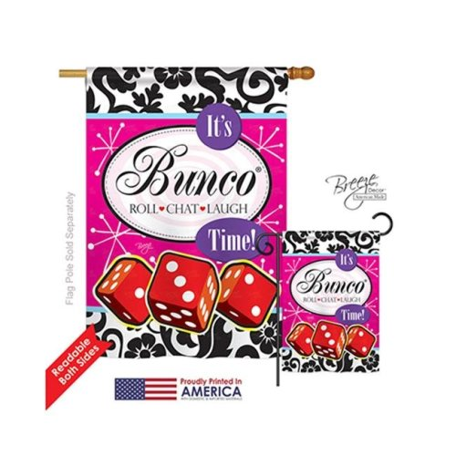Breeze Decor 15098 Its Bunco Time 2-Sided Vertical Impression House Flag - 28 x 40 in.