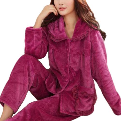 Casual Pajama Set Warm Sleepwear Home Apparel Flannel Pajamas X-large-A6