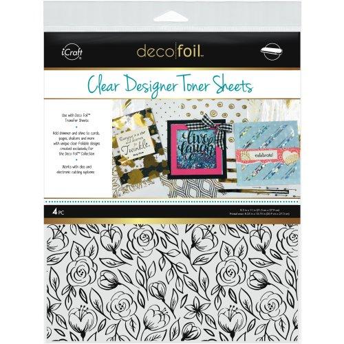 "Deco Foil Clear Toner Sheets 8.5""X11"" 4/Pkg-Floral Sketch"