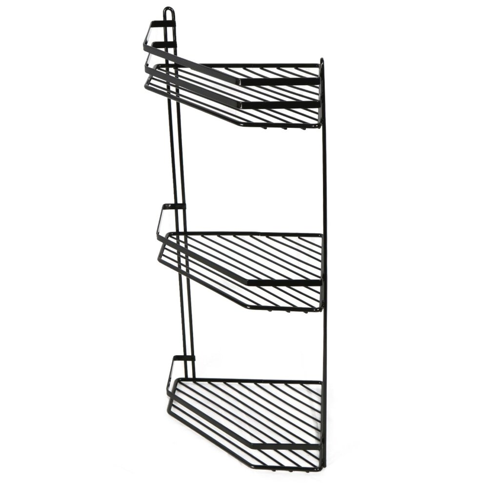 3-Tier Black Wall-Mounted Shower Caddy | Rustproof Corner Shower ...