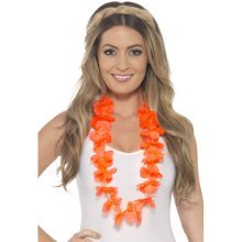 Neon Orange Ladies Hawaiian Lei -  hawaiian lei fancy dress neon flower necklace beach party tropical orange ladies hula menladies
