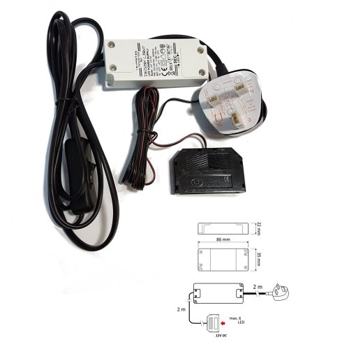 LED Transformer With Wires Power Supply / Driver 240V - DC 12V 7W for Led Lights
