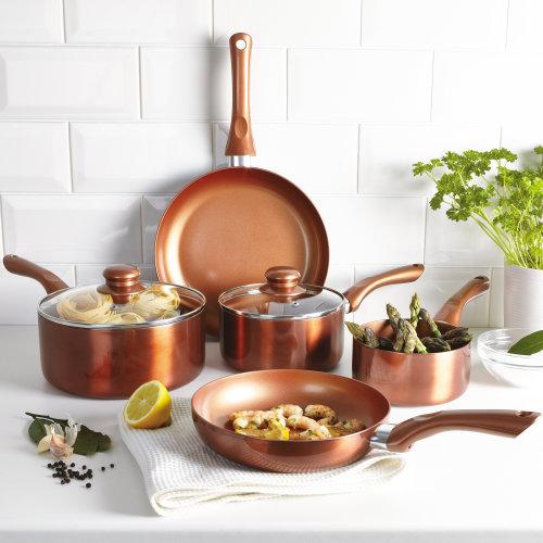 Cermalon Copper 5 PCS Cookware Saucepans and Frying Pan Pot Set