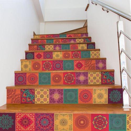 Walplus Tile Colourful Mandala Wall Sticker Decal (Size: 15m x 15cm @ 24pcs)