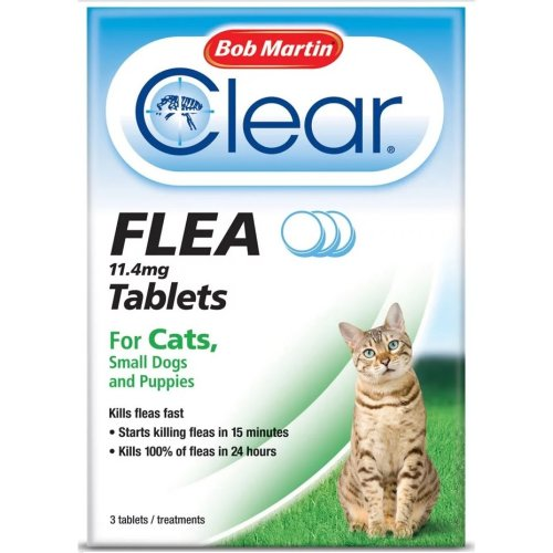 (Cats Under 11kg) Bob Martin Clear Cat & Dog Flea Tablets