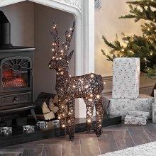 (Brown, 80cm) Rattan LED Reindeer Christmas Light Figure | Light Up Indoor & Outdoor Reindeer