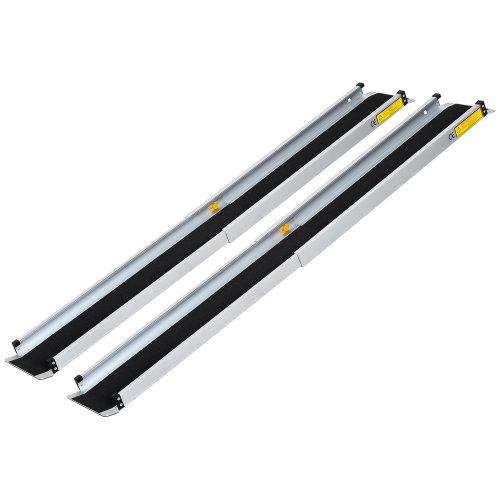 HOMCOM 2-piece 6 FT Wheelchair Ramp Lightweight Retractable Aluminum Skidproof PVC Carpeted Portable Telescoping