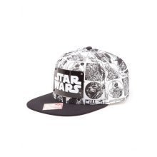 Star Wars Comic Book Strip with Metal Plate Logo Snapback Baseball Cap, One Size, White/Black (Model No. SB150828STW)
