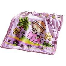 Dual Layers Purple Raschel Baby Toddlers Blanket