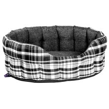 Premium Heavy Duty Antibacterial Oval Drop Front Softee Bed Plaid Design Noir Size 5 76x64x24cm