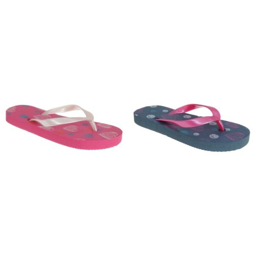 Sand Rocks Childrens Girls Scribble Hearts Flip Flops