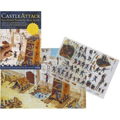 Castle Attack - Rub Down Transfers - Medieval Castle Siege Scene