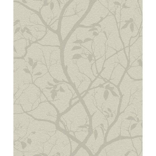 NEW GRANDECO MARINO FLORAL LEAF PATTERN SILHOUETTE TREE METALLIC WALLPAPER [NEUTRAL A10102]