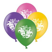 """Mardi Gras Masks  Mix 4 Assorted 12"""" Latex Balloons pack of 25"""