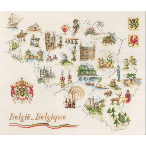 """LanArte Counted Cross Stitch Kit 25.6""""X20""""-Map Of Belgium (27 Count)"""