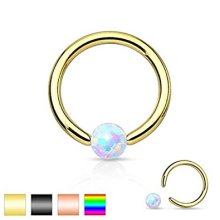 Synthetic Opal Stone Surgical Steel CBR Captive Bead Ring Universal Piercing Body Jewellery
