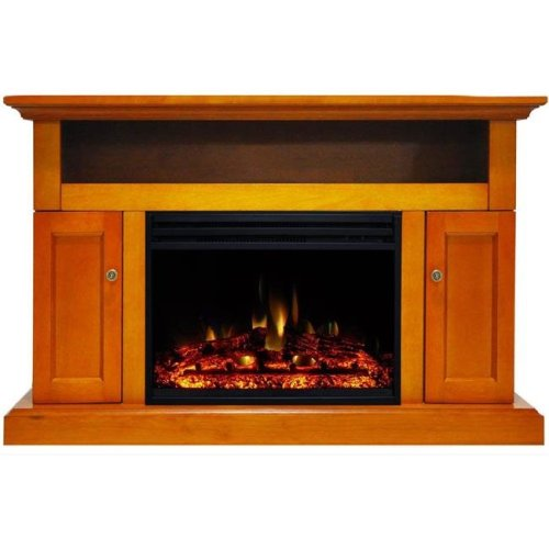 Cambridge CAM5021-2TEKLG3 Sorrento Electric Fireplace Heater with 47 in. Teak TV Stand Enhanced Log Display, Multi Color Flames & a Remote Control