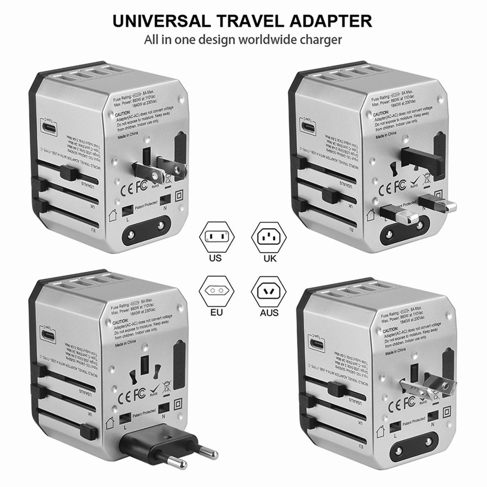 efd14d6af03ff0 ... CleverTrips Universal Travel Power Adapter All in One Worldwide International  Wall Charger AC Plug Adaptor with ...