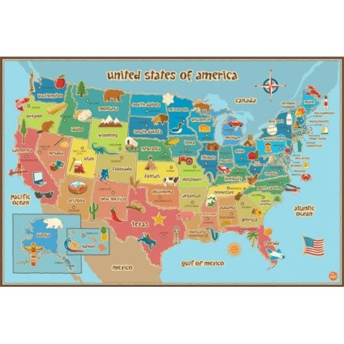 WallPops WPE0623 Kids Usa Dry Erase Map Wall Decals