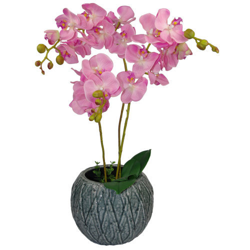 60cm Luxury Artificial Orchid Potted Plant | Triple Stem Pink Orchid