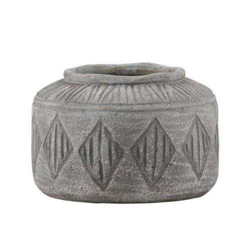 Urban Trends Collection 58412 Cement Round Pot with Wide Mouth & Diamond Pattern Design Body Washed Concrete Finish, Gray - Medium