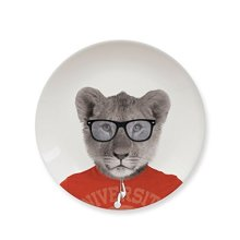 Wild Dining Lion Cub Ceramic Side Plate -  dining plates wild animal party lion novelty dinner funny deer