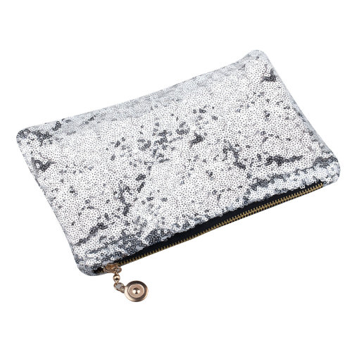 TRIXES Ladies Clutch Bag with Sparkling Silver Sequin Detail 26 cm x 15.5cm Evening Bag